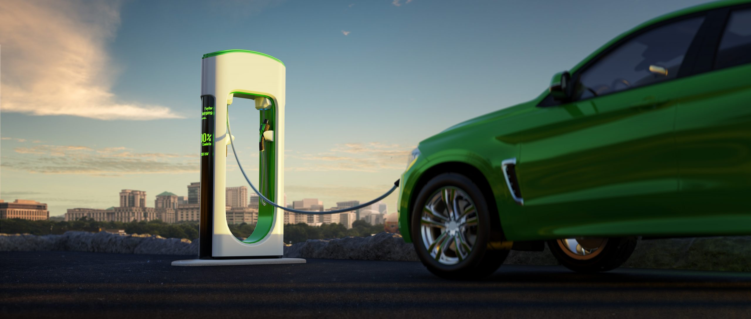 Electric car and EV charger city background