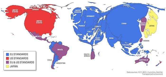 Cartogram EU-US-Standards trade