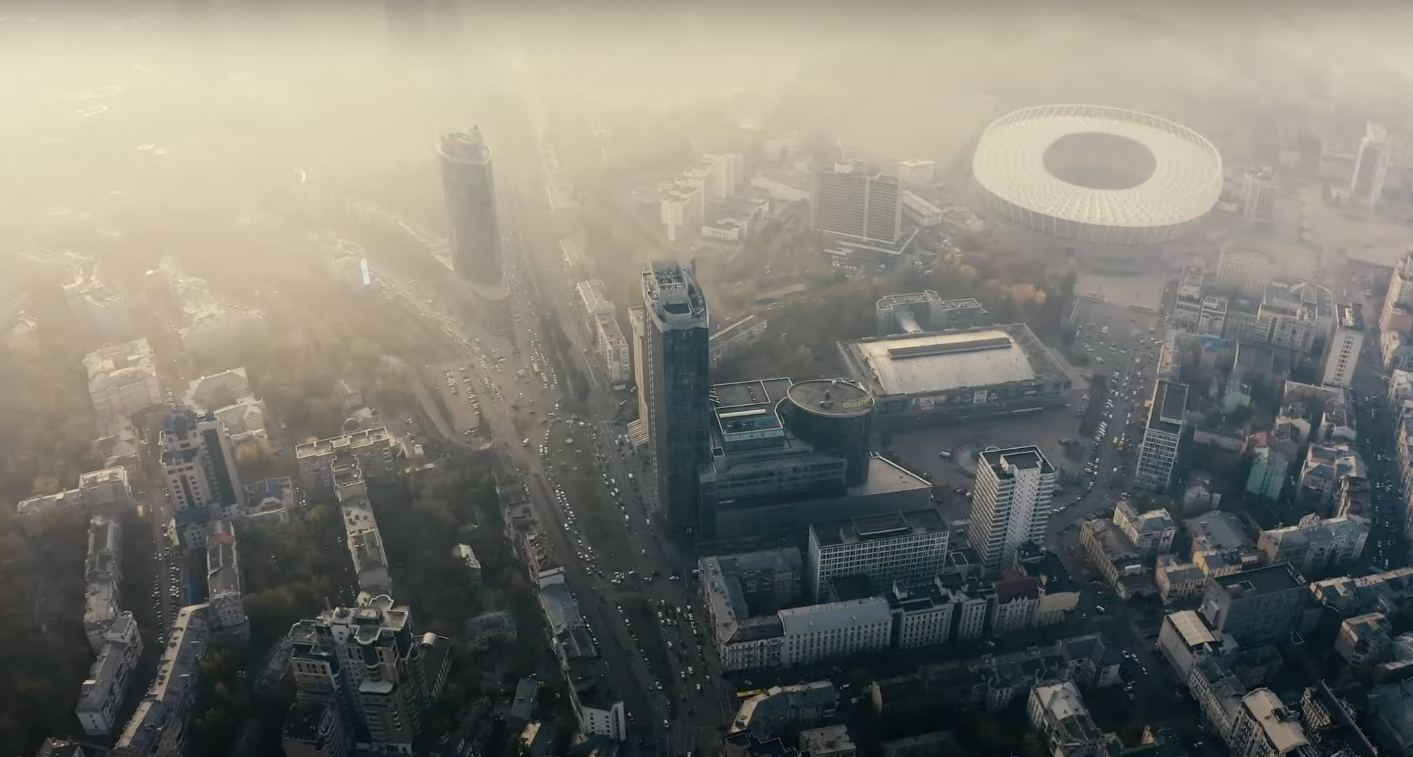 Clean cities aerial shot